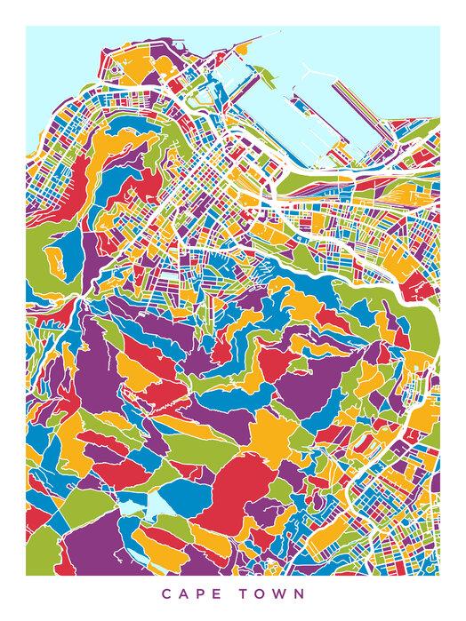 Cape Town South Africa City Street Map Prisvard Fototapet
