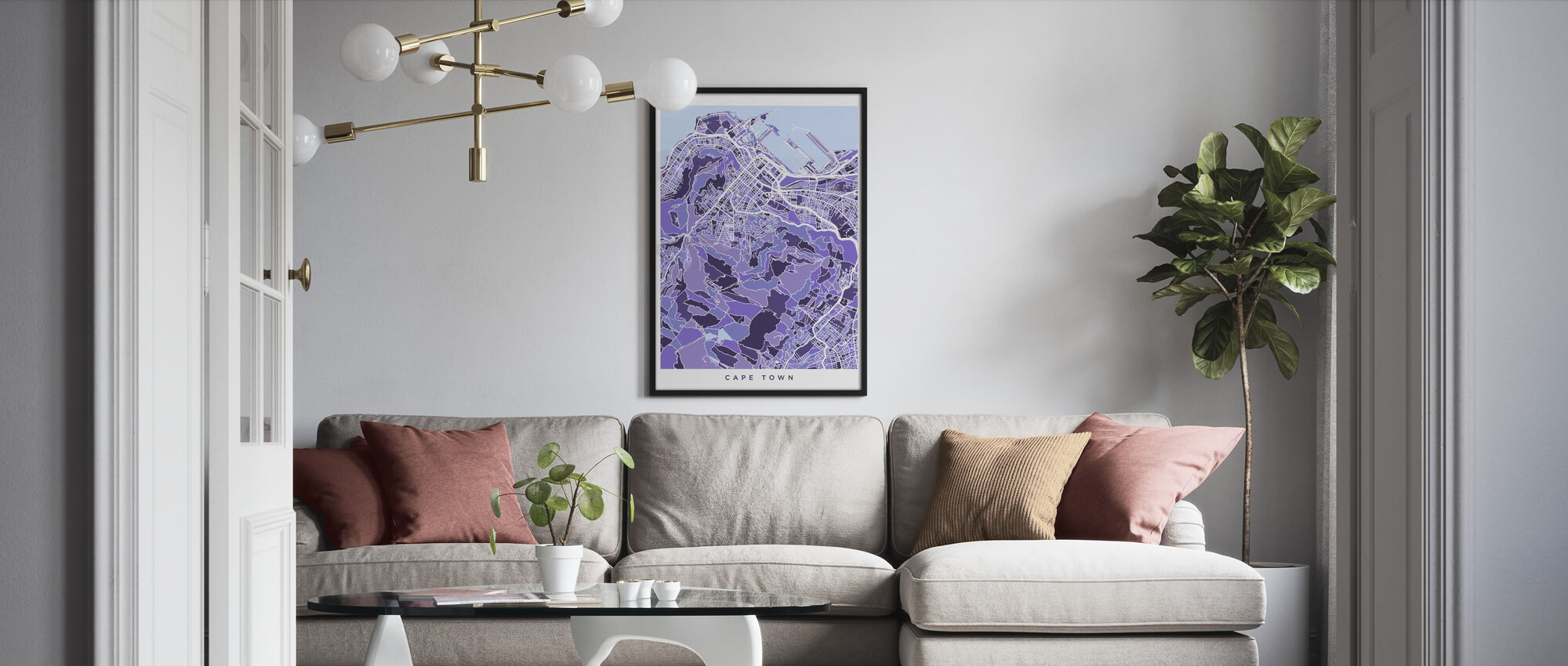 Cape Town South Africa City Street Map - Framed print - Living Room