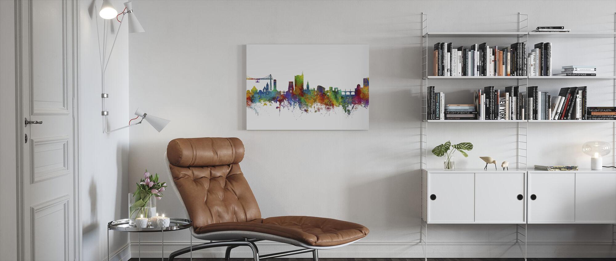Newport Wales Skyline - Canvas print - Woonkamer
