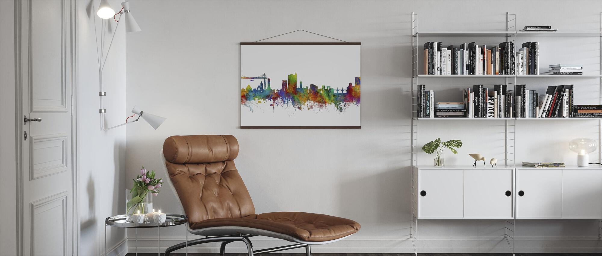 Skyline von Newport Wales - Poster - Wohnzimmer