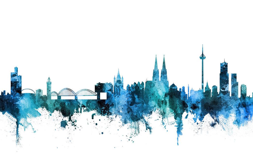 Cologne germany skyline stimmungsvolles leinwandbild - Koln skyline leinwand ...