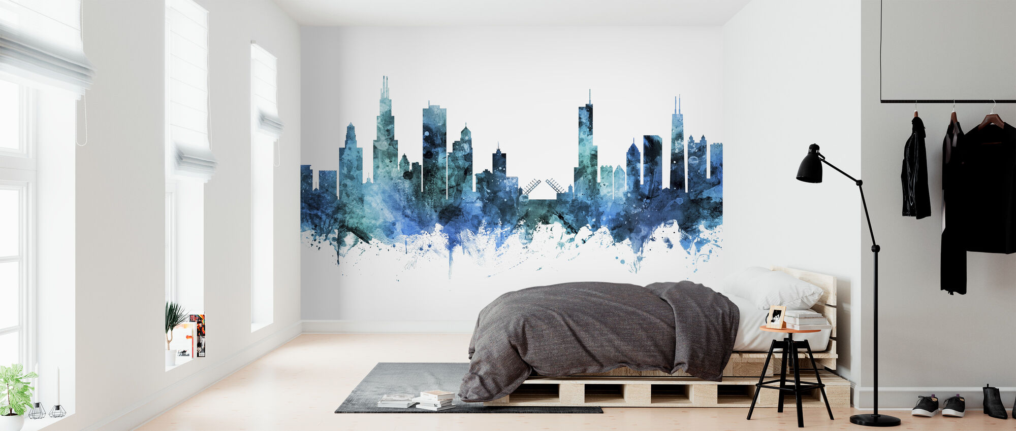 Chicago Illinois Skyline - Behang - Slaapkamer