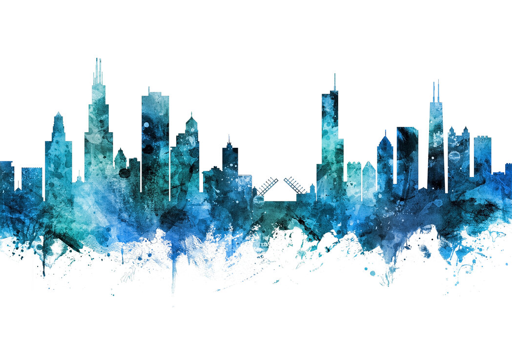 Chicago Illinois Skyline Affordable Wall Mural Photowall
