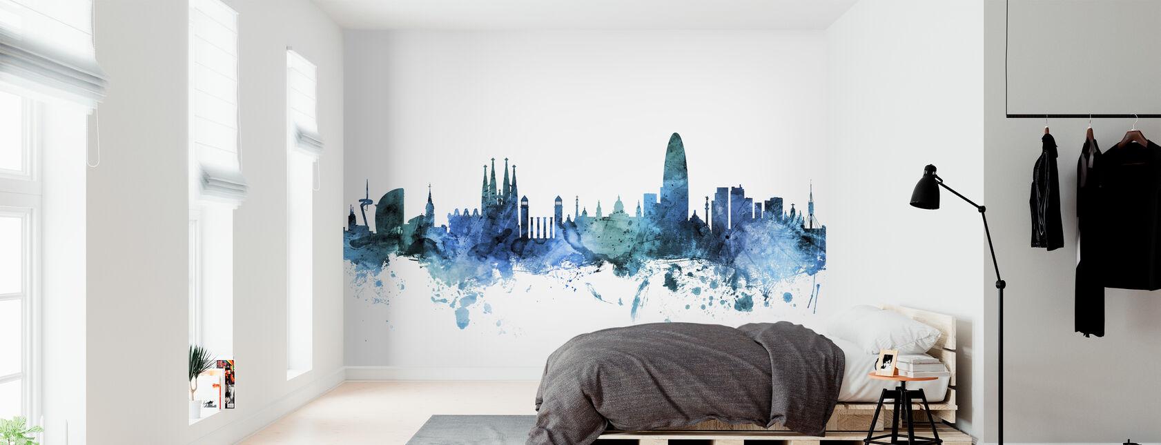 Barcelona España Skyline - Papel pintado - Dormitorio