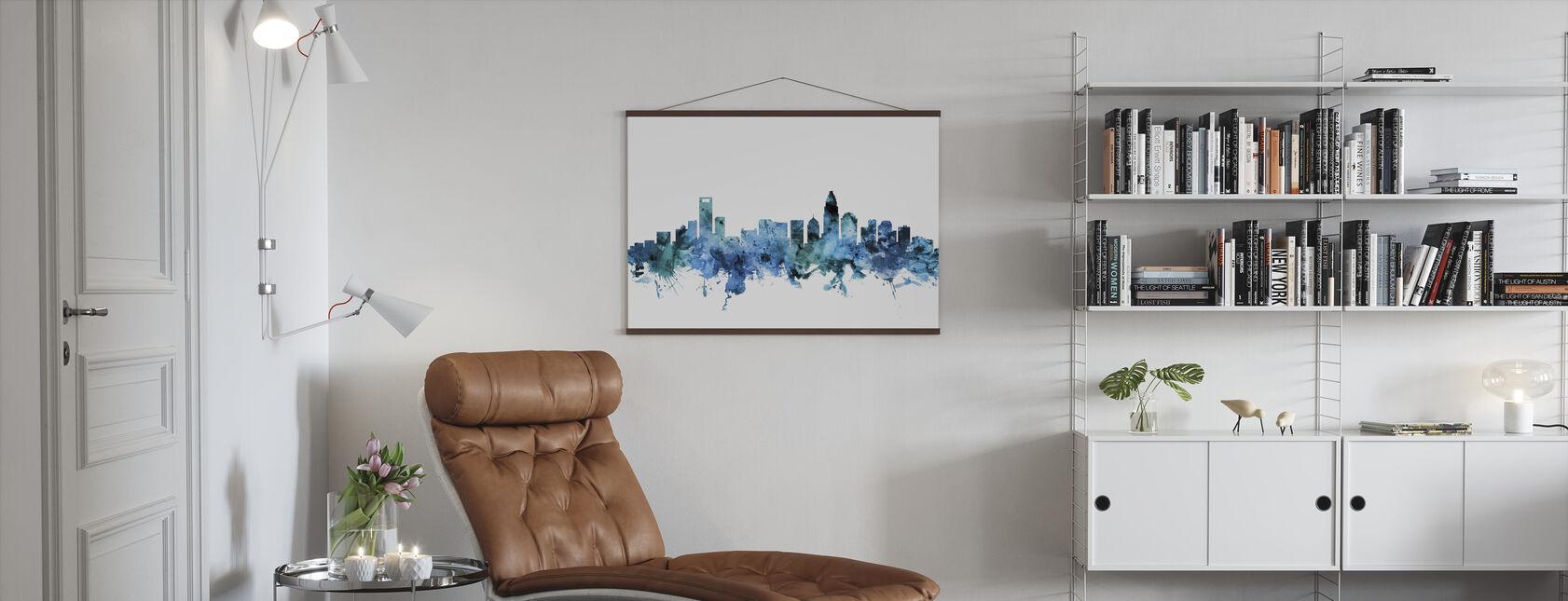 Charlotte North Carolina Skyline - Poster - Living Room