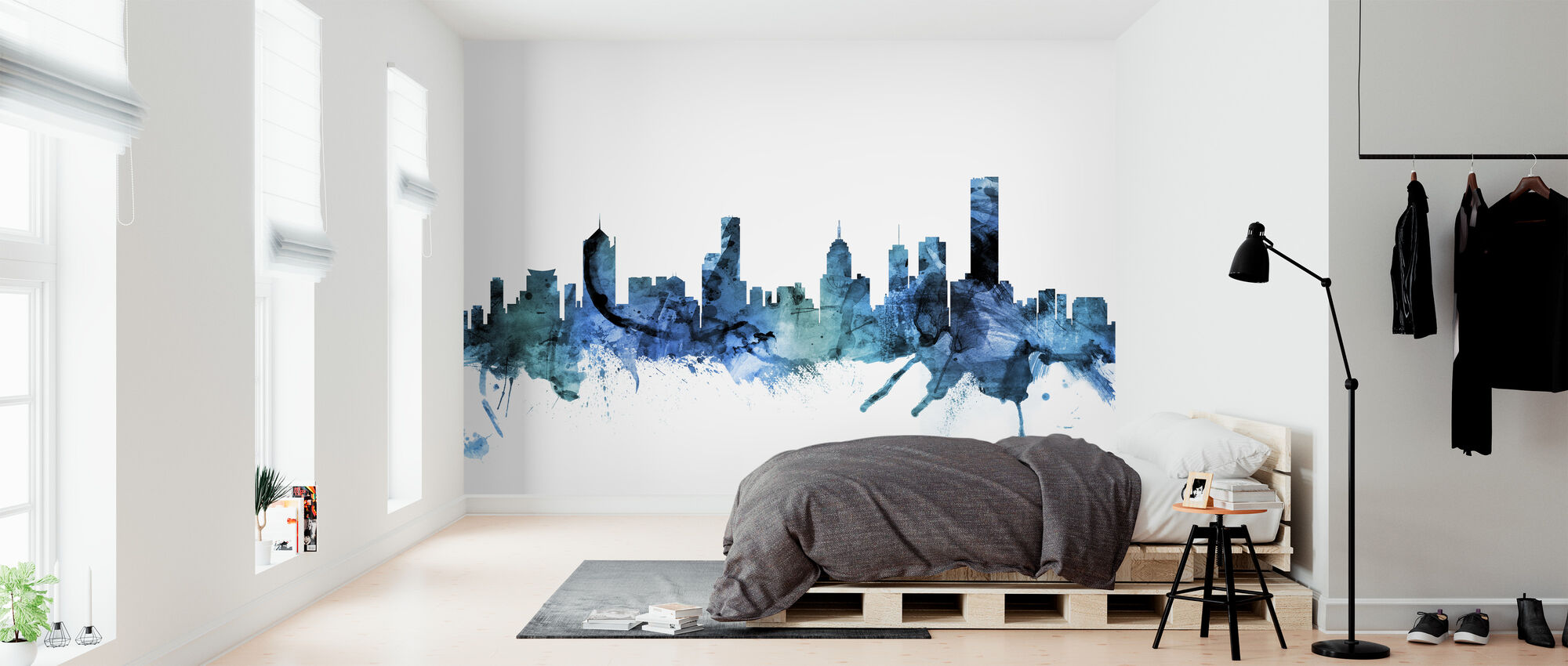 Skyline van Melbourne Australië - Behang - Slaapkamer