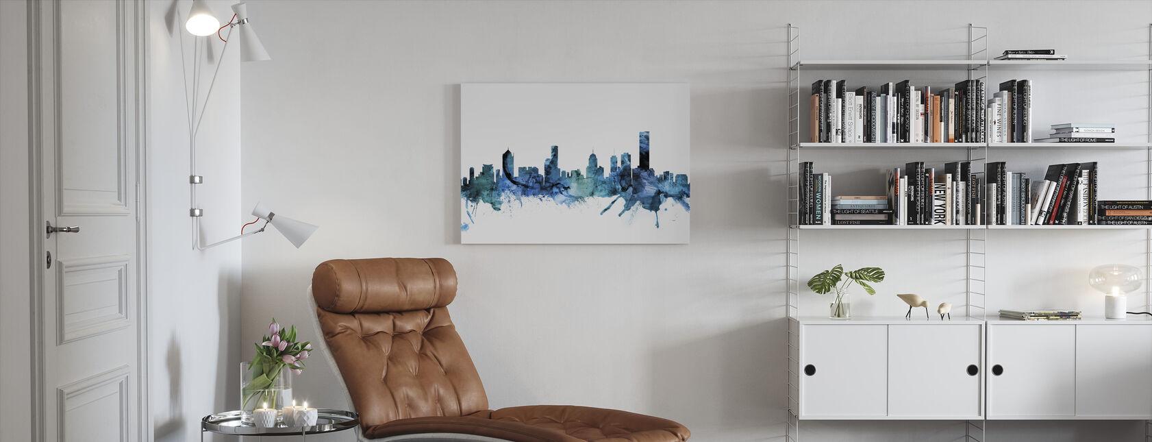 Skyline van Melbourne Australië - Canvas print - Woonkamer