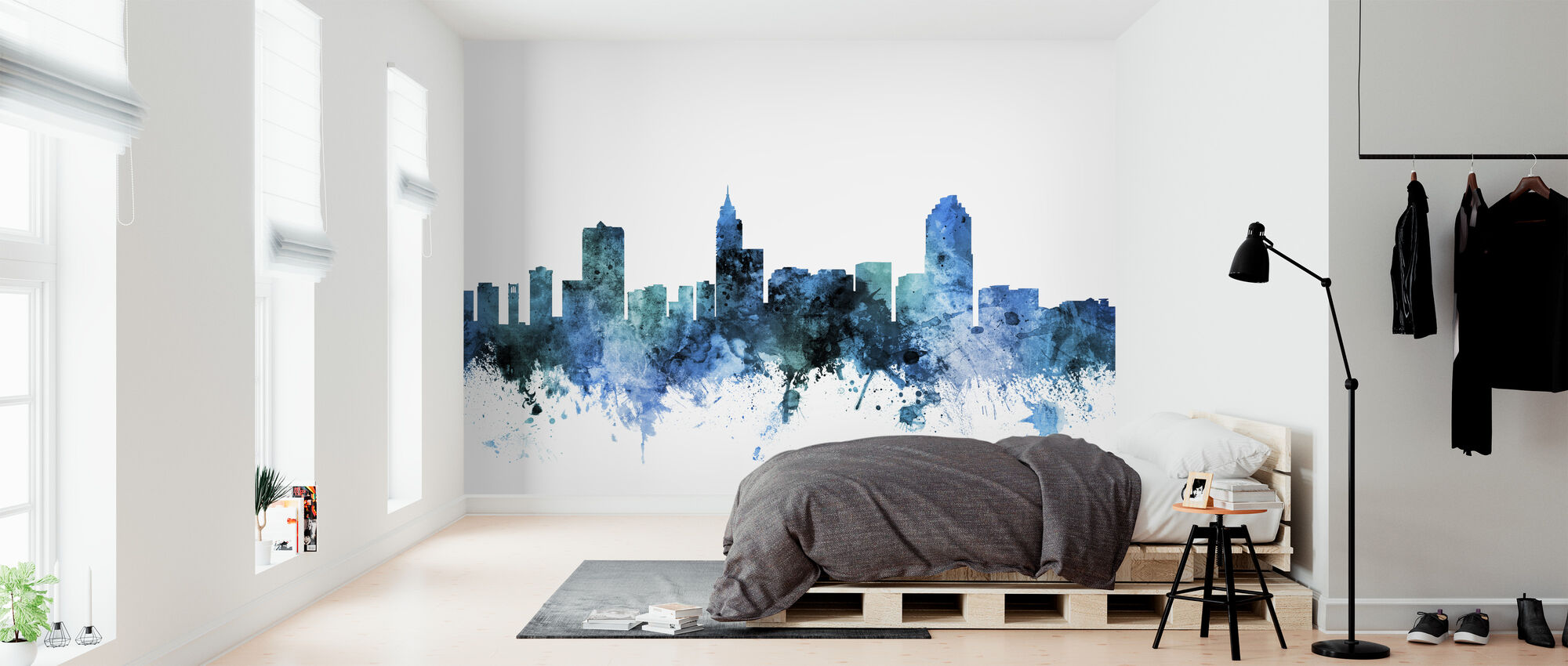 Skyline van Raleigh North Carolina - Behang - Slaapkamer