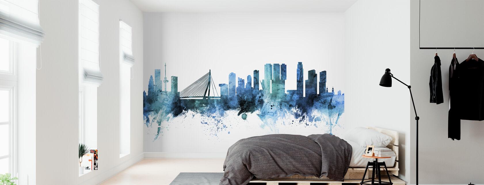 Rotterdam de Nederlandse Skyline - Behang - Slaapkamer