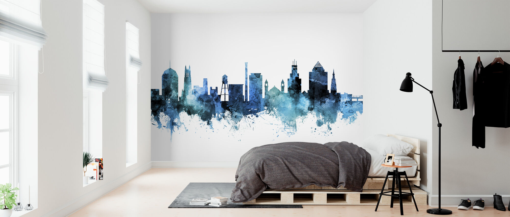Skyline van Durham North Carolina - Behang - Slaapkamer