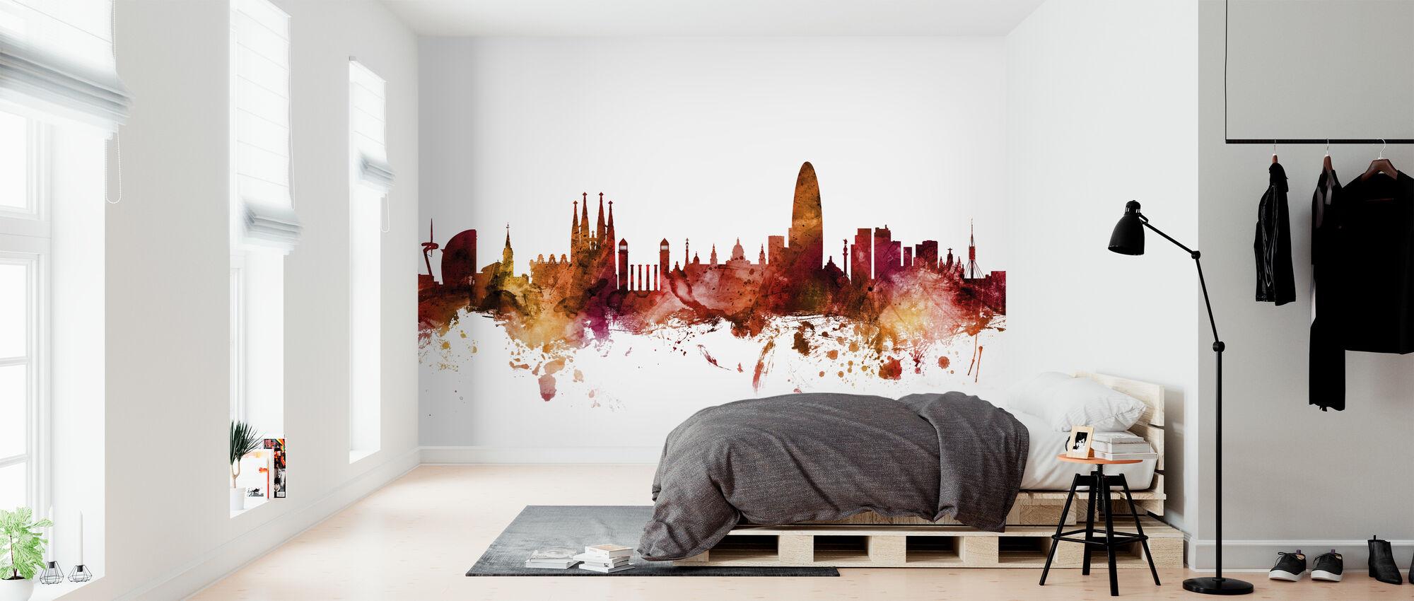 Barcelona Spain Skyline - Wallpaper - Bedroom