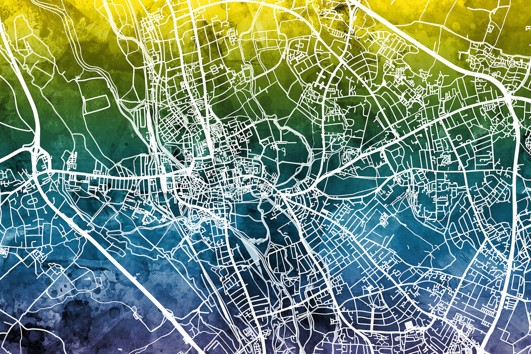 Oxford Street Map - Bluegreen - Wallpaper