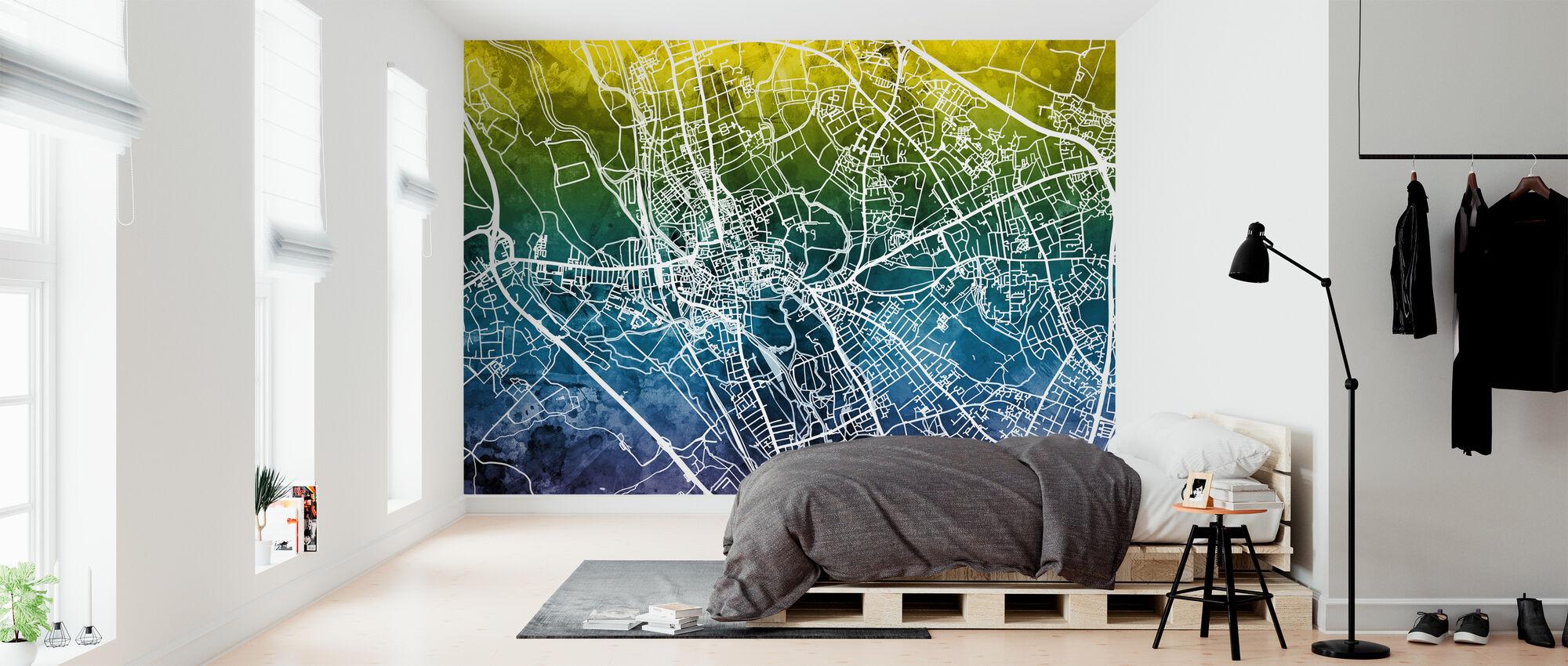 Oxford Street Kartta - Sinivihreä - Tapetti - Makuuhuone