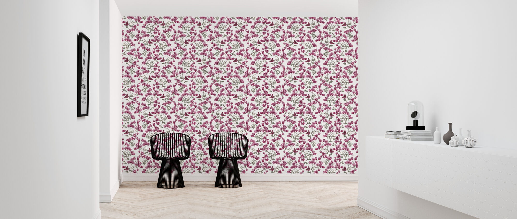 Butterfly Poetry - Fuschia and Jade - Wallpaper - Hallway