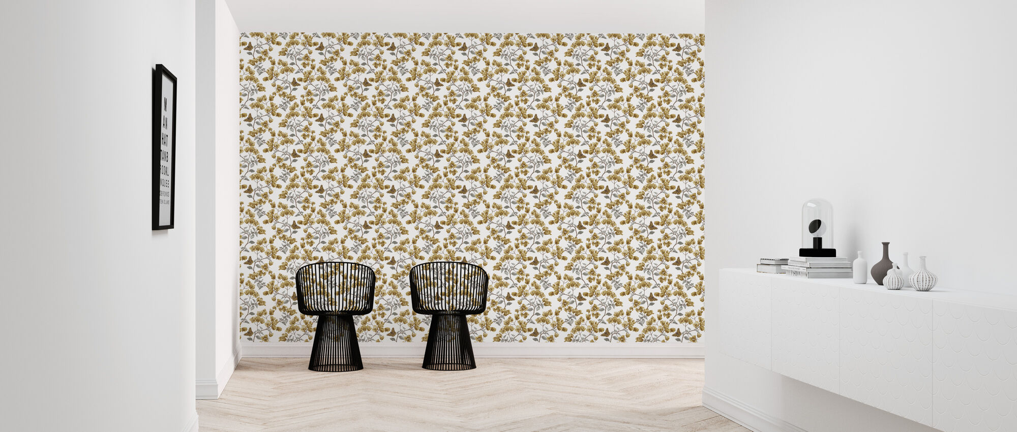 Butterfly Poetry - Mustard and Silver - Wallpaper - Hallway