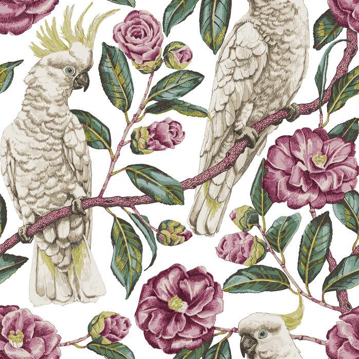 Cockatoo paradise geranium and emerald papel pintado - Papel pintado exclusivo ...