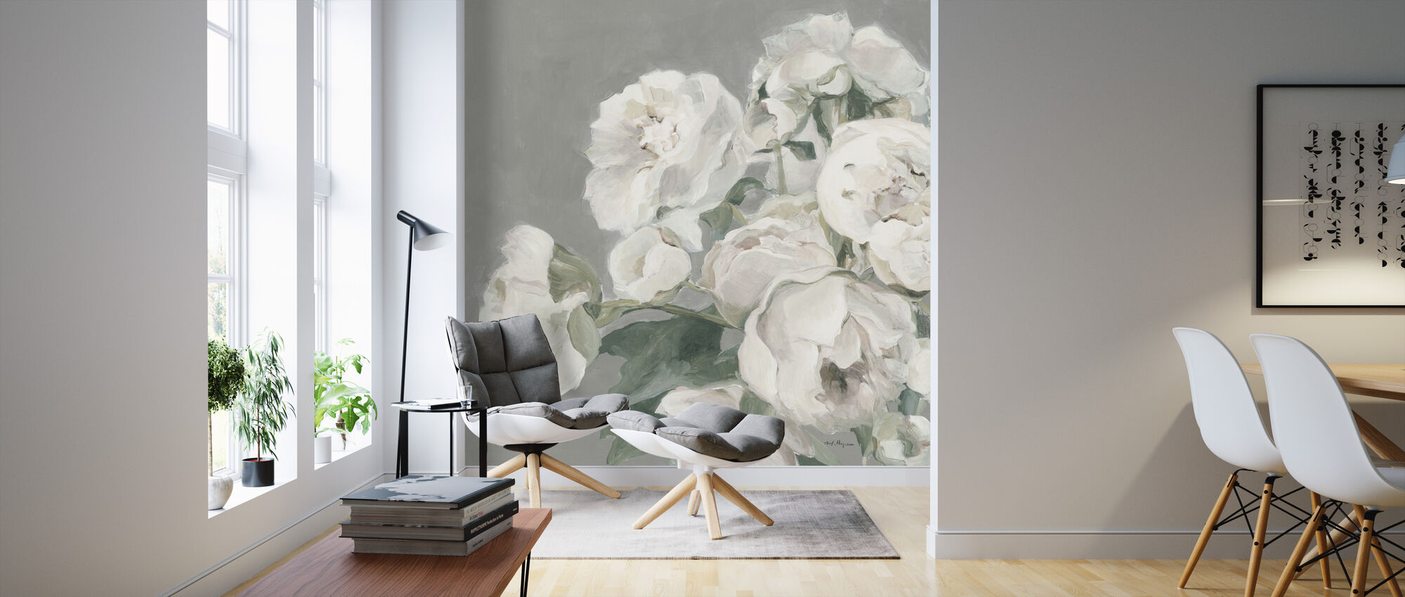Peonies on Gray - Wallpaper - Living Room