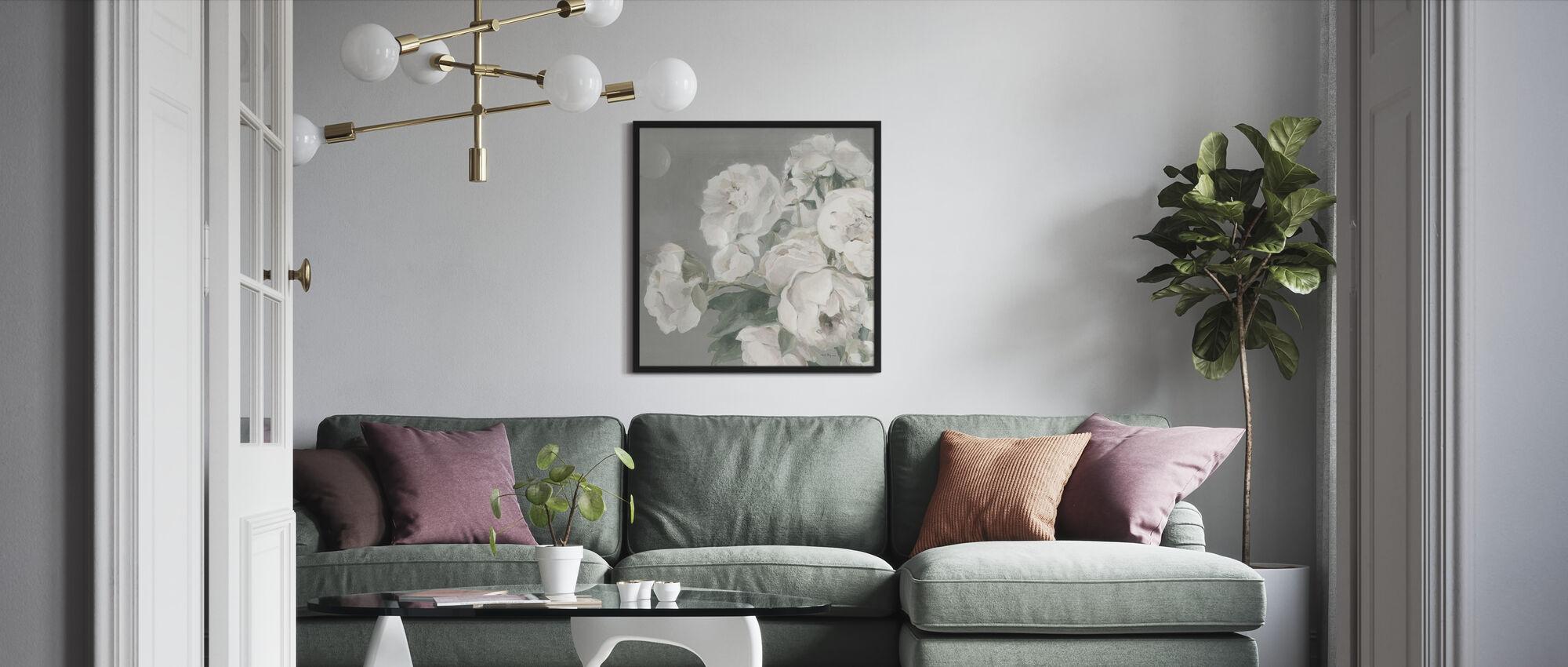 Peonies on Gray - Framed print - Living Room