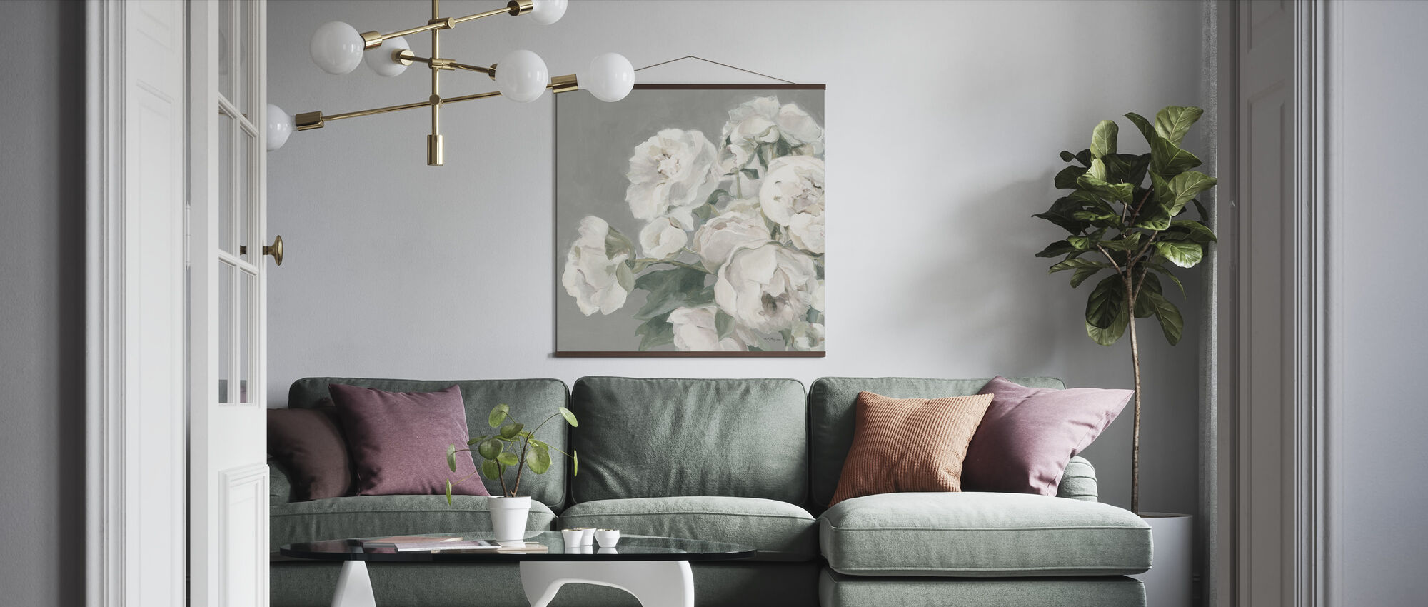 Peonies on Gray - Poster - Living Room
