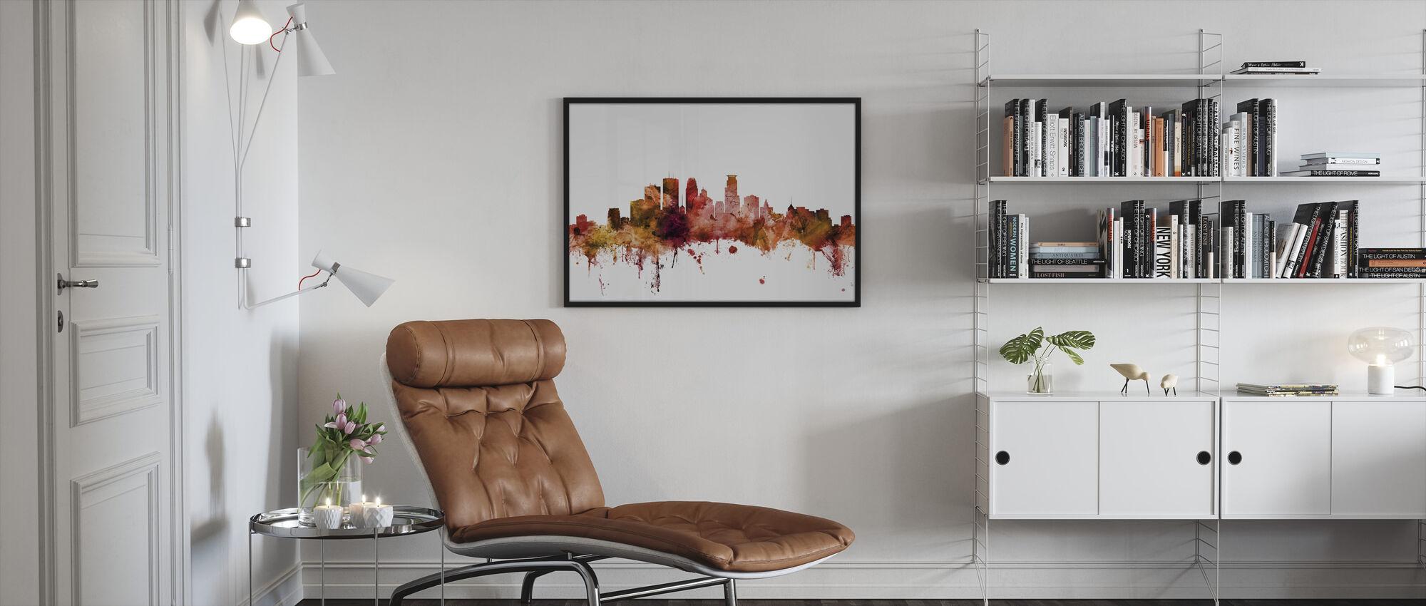 Minneapolis Minnesota Skyline - Framed print - Living Room