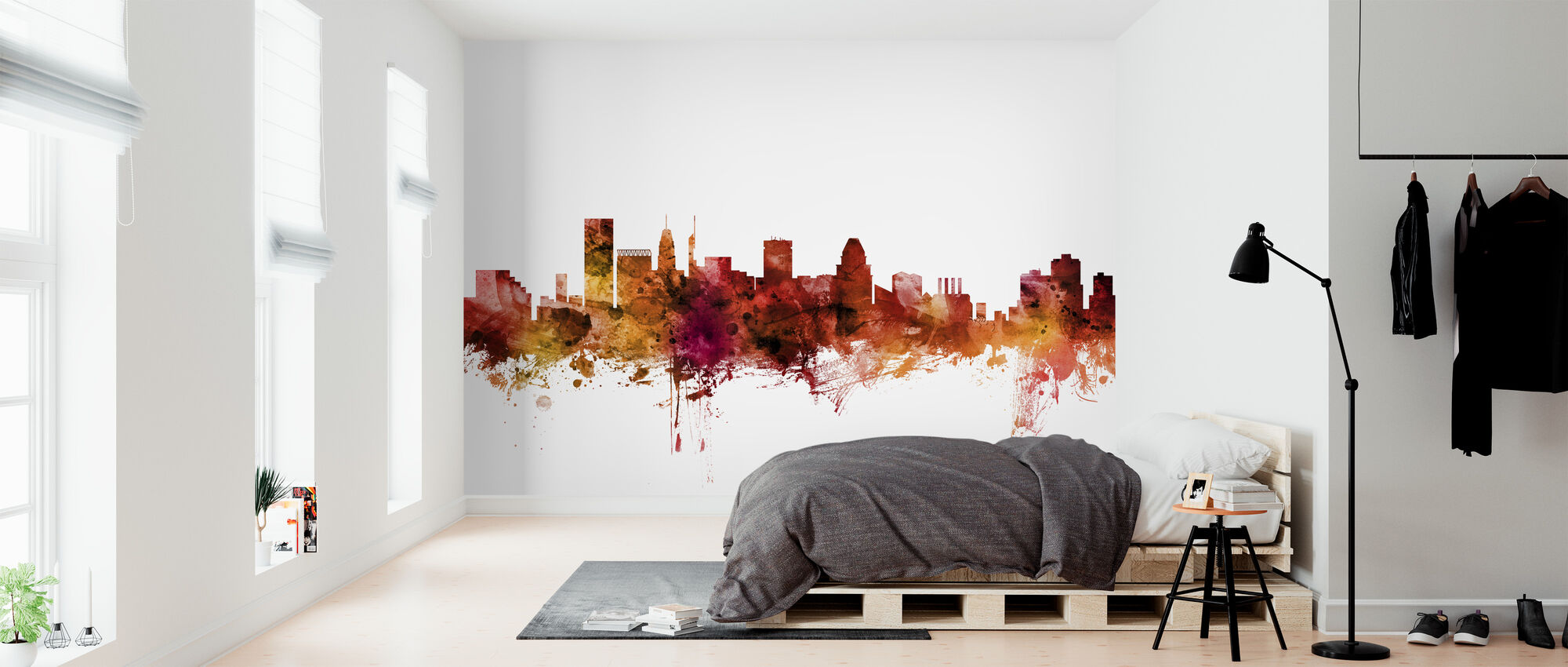 Baltimore Maryland Skyline - Wallpaper - Bedroom
