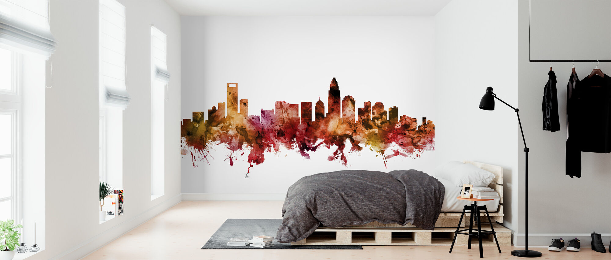 Skyline van Charlotte North Carolina - Behang - Slaapkamer