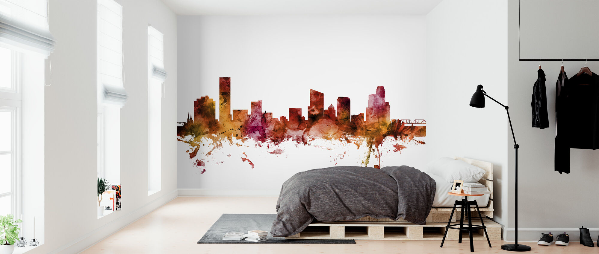 Grand Rapids Michigan Skyline - Behang - Slaapkamer