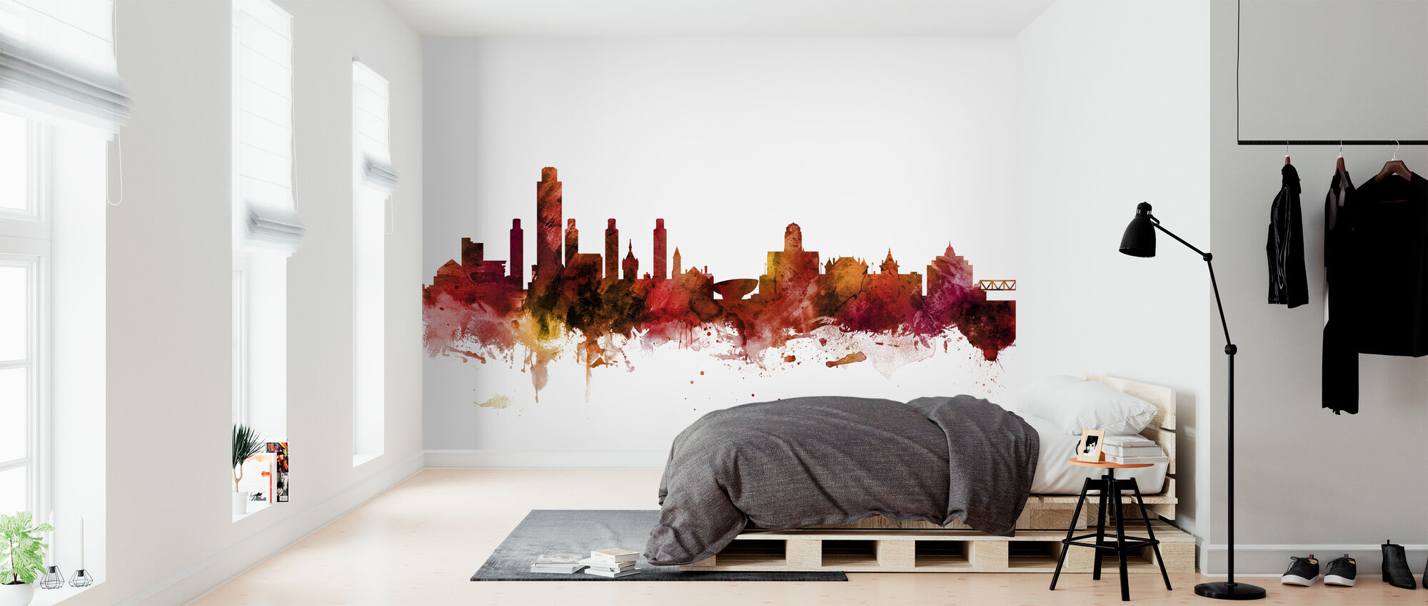 Albany Skyline van New York - Behang - Slaapkamer