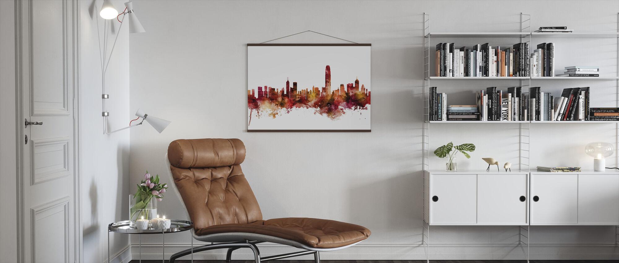 Skyline van Hongkong - Poster - Woonkamer
