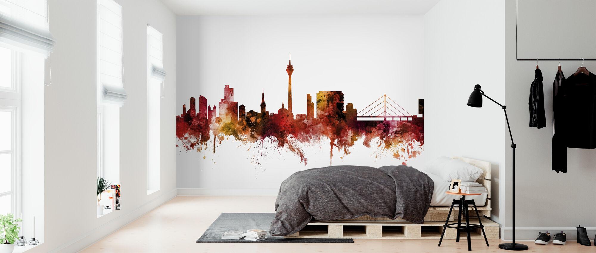 Skyline van Düsseldorf Duitsland - Behang - Slaapkamer
