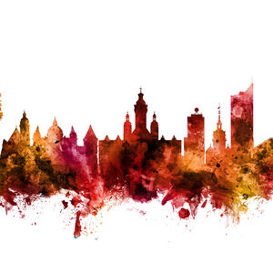 Leipzig Skyline Black Affordable Wall Mural Photowall