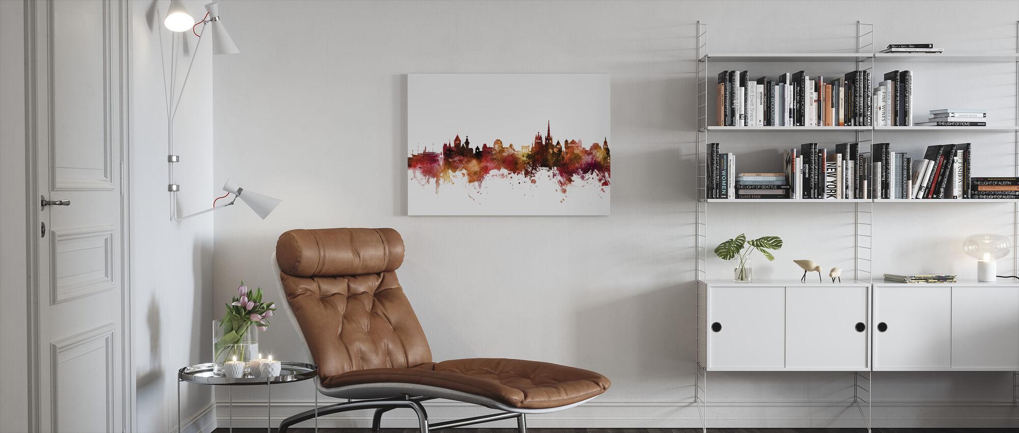 Skyline van Lausanne Zwitserland - Canvas print - Woonkamer