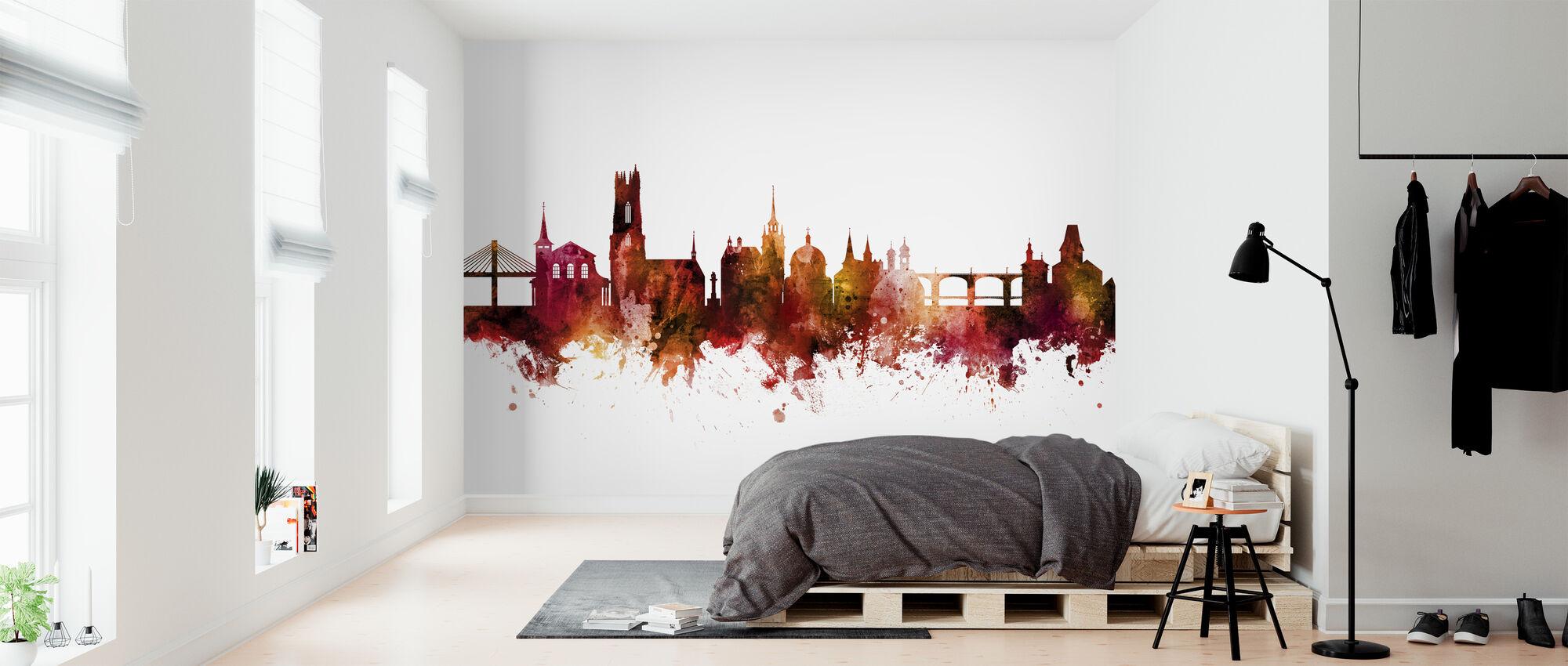 Fribourg Switzerland Skyline - Wallpaper - Bedroom