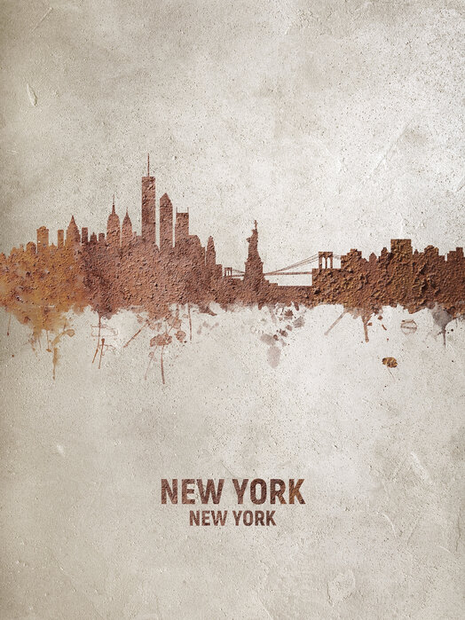 New York Rust Skyline Made To Measure Wall Mural Photowall