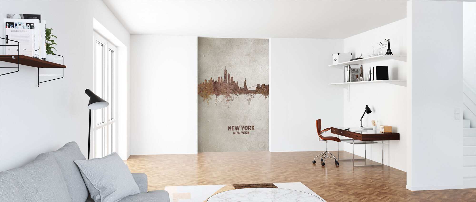New York Rust Skyline - Wallpaper - Office