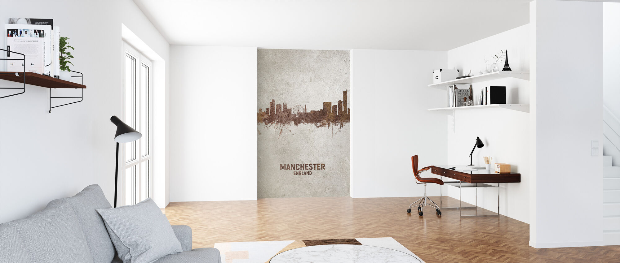 Manchester England Rust Skyline - Wallpaper - Office