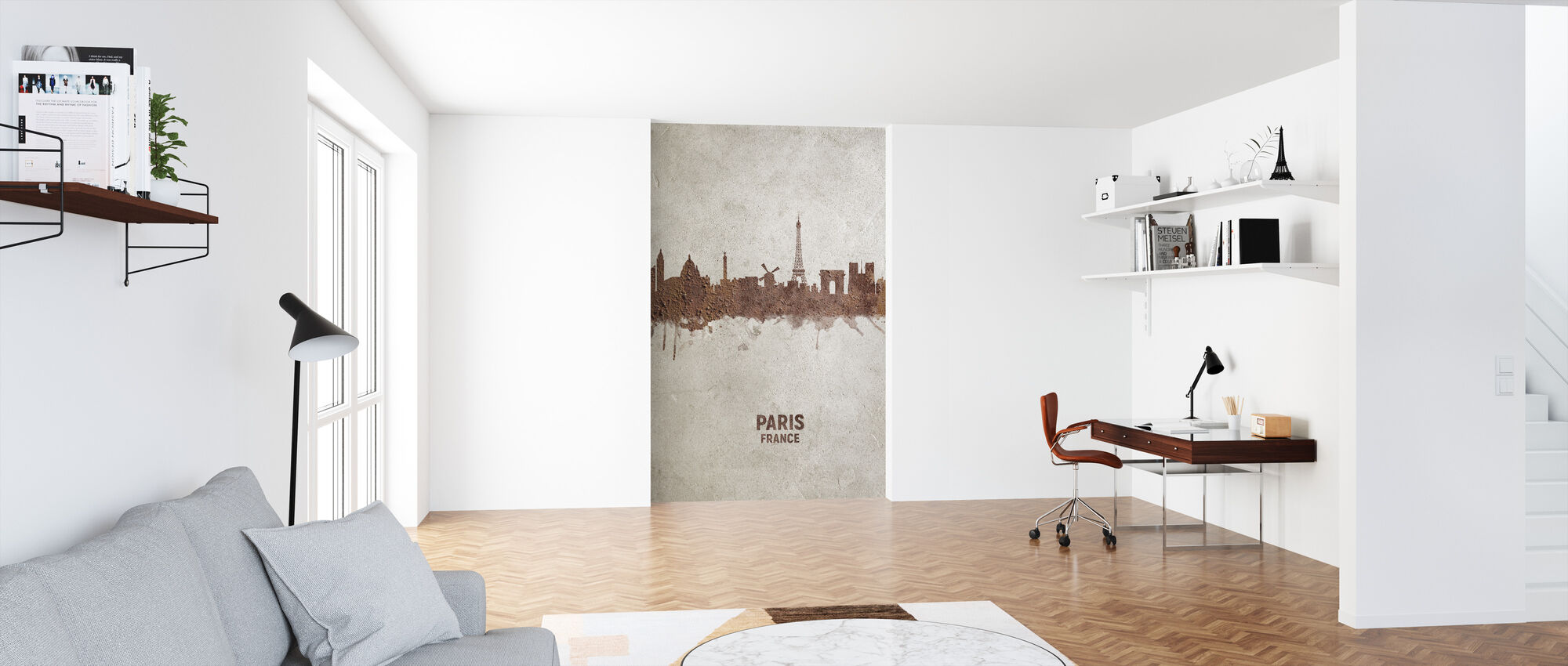 Paris France Rust Skyline - Wallpaper - Office