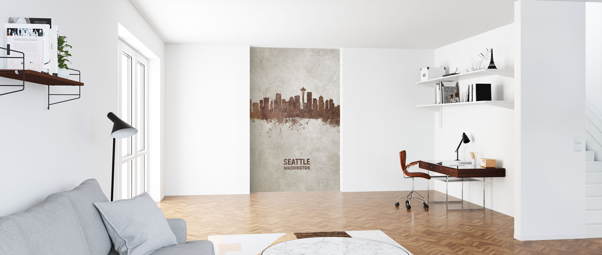 Seattle Washington Rust Skyline - Wallpaper - Office