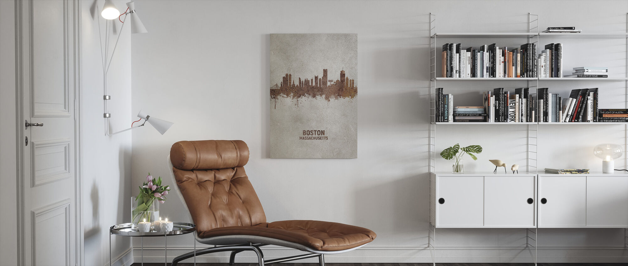 Boston Massachusetts Rust Skyline - Canvas print - Living Room