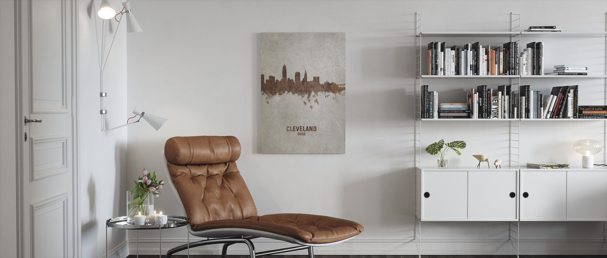 Cleveland Ohio Roest Skyline - Canvas print - Woonkamer
