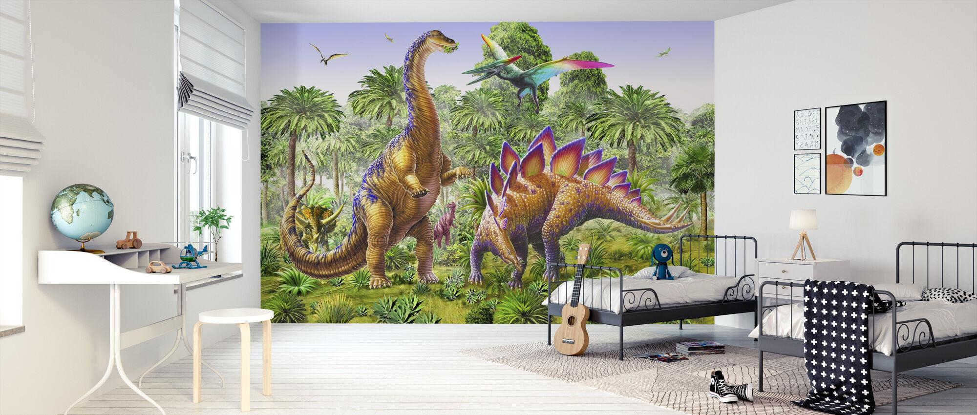 Brachiosaurus en Stegasaur - Behang - Kinderkamer