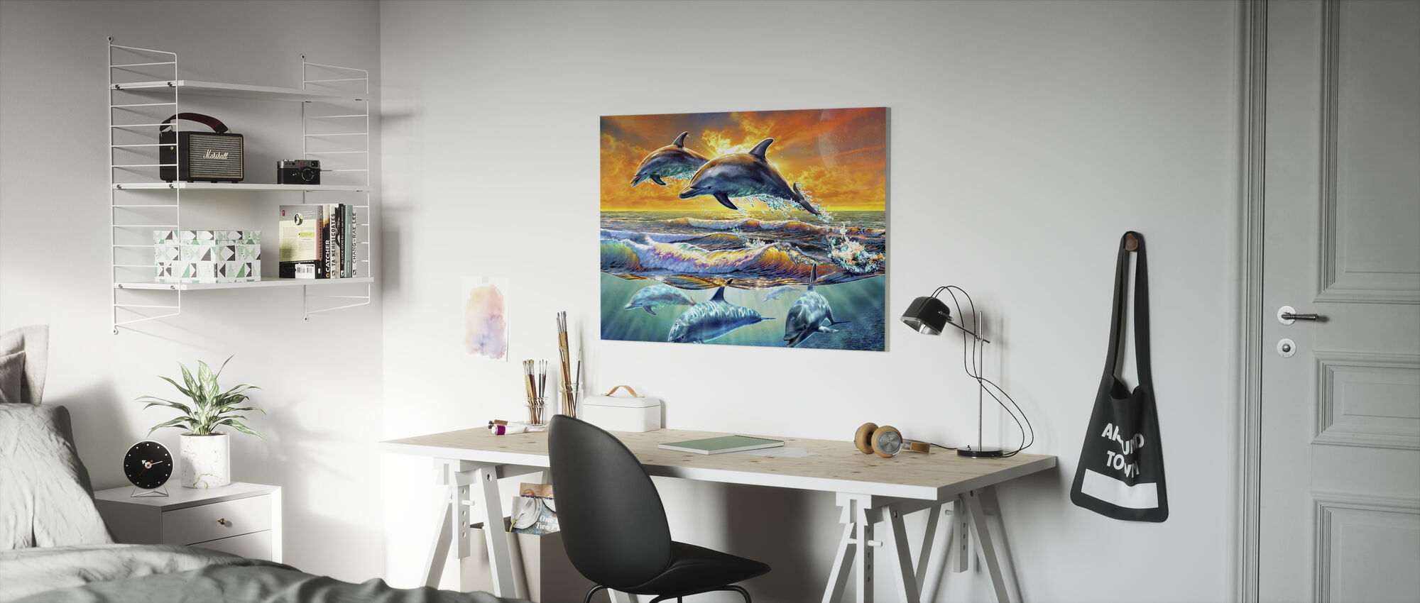 Dolfijnen bij zonsopgang - Canvas print - Kinderkamer