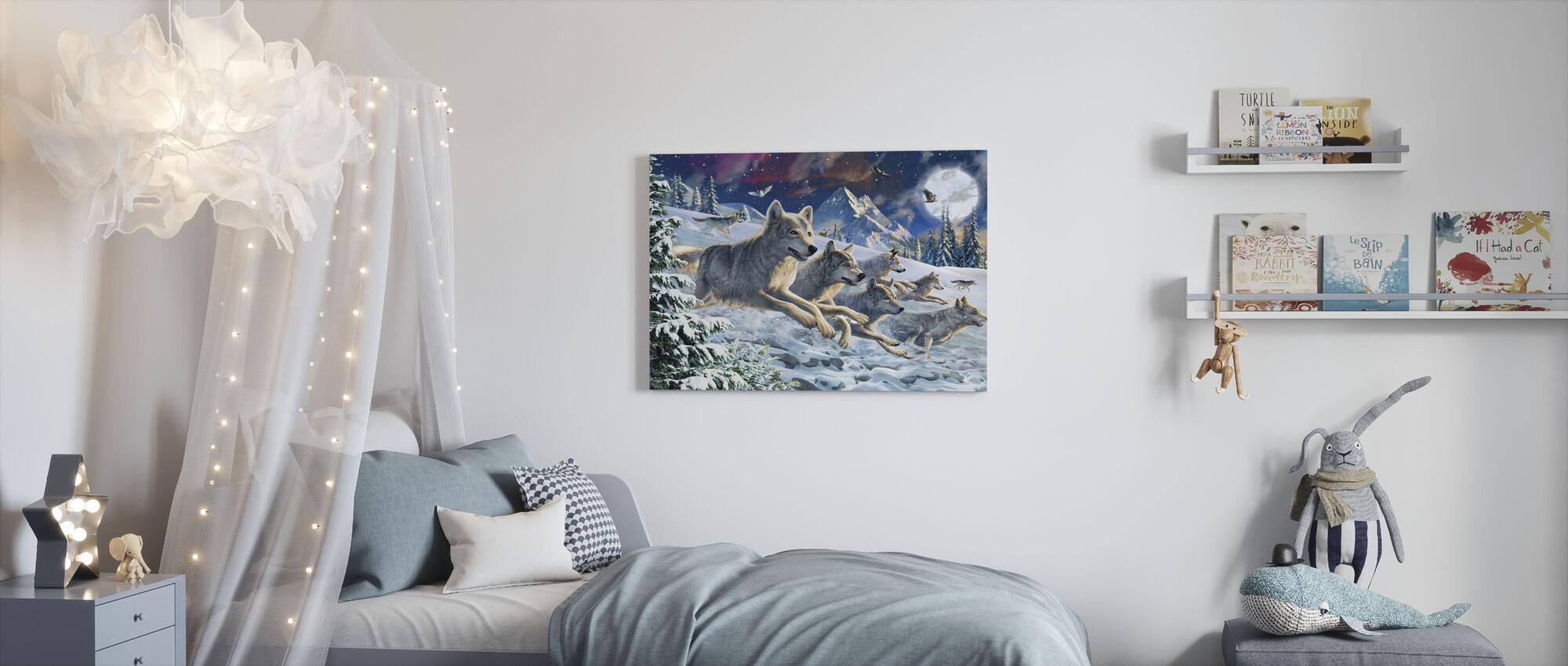 Moonlight Wolfpack - Canvas print - Kids Room