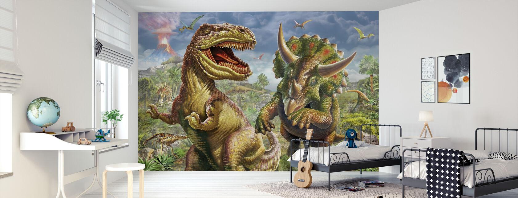 T-Rex et Tricératops - Papier peint - Chambre des enfants