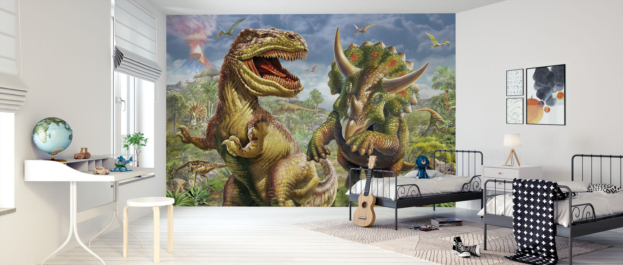 T-Rex and Triceratops - Wallpaper - Kids Room