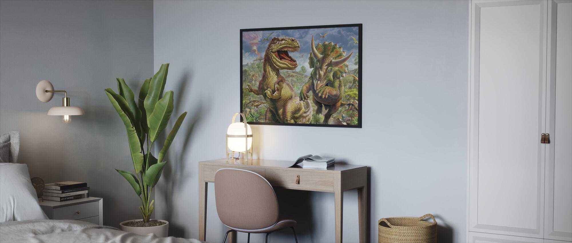 T-Rex og Triceratops - Innrammet bilde - Soverom