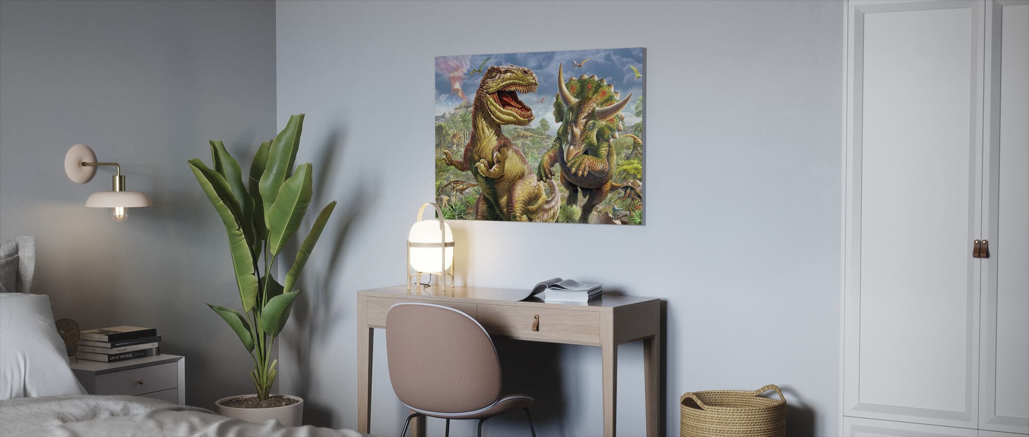 T-Rex and Triceratops - Canvas print - Office