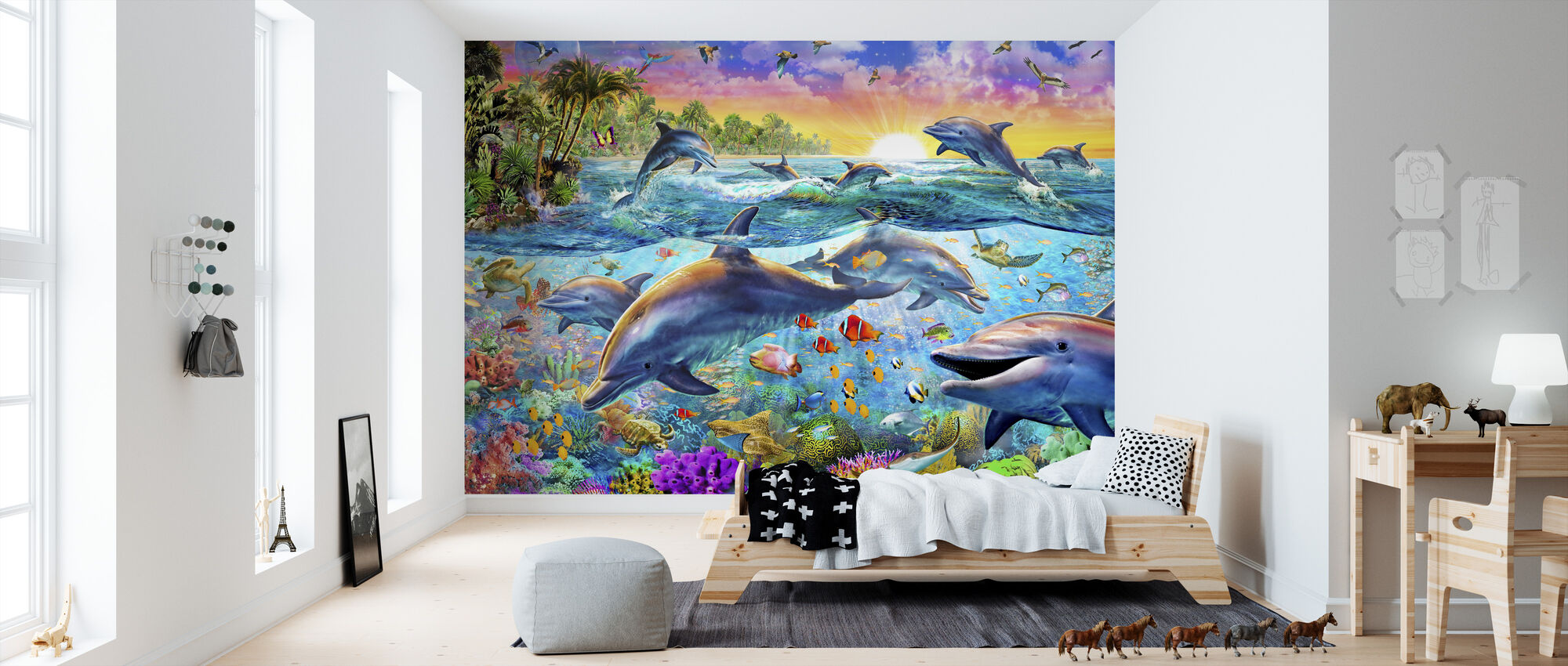 Tropical Dolphins - Wallpaper - Kids Room
