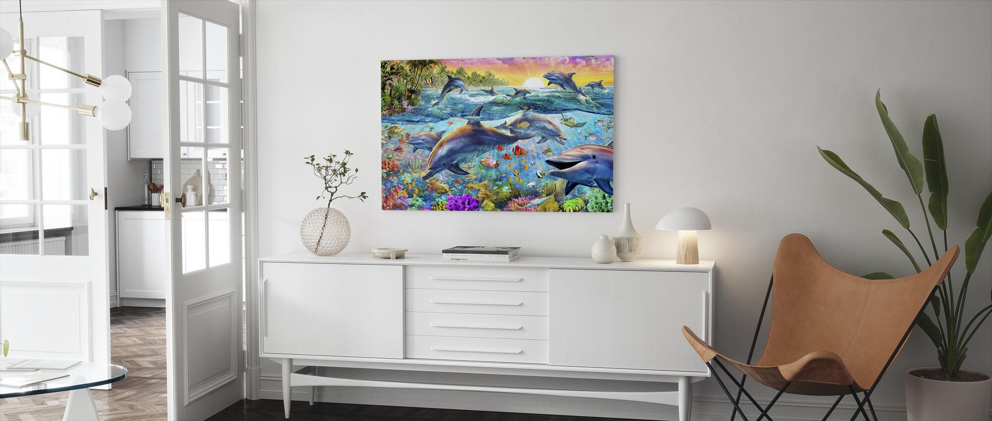 Tropiske delfiner - Lerretsbilde - Stue