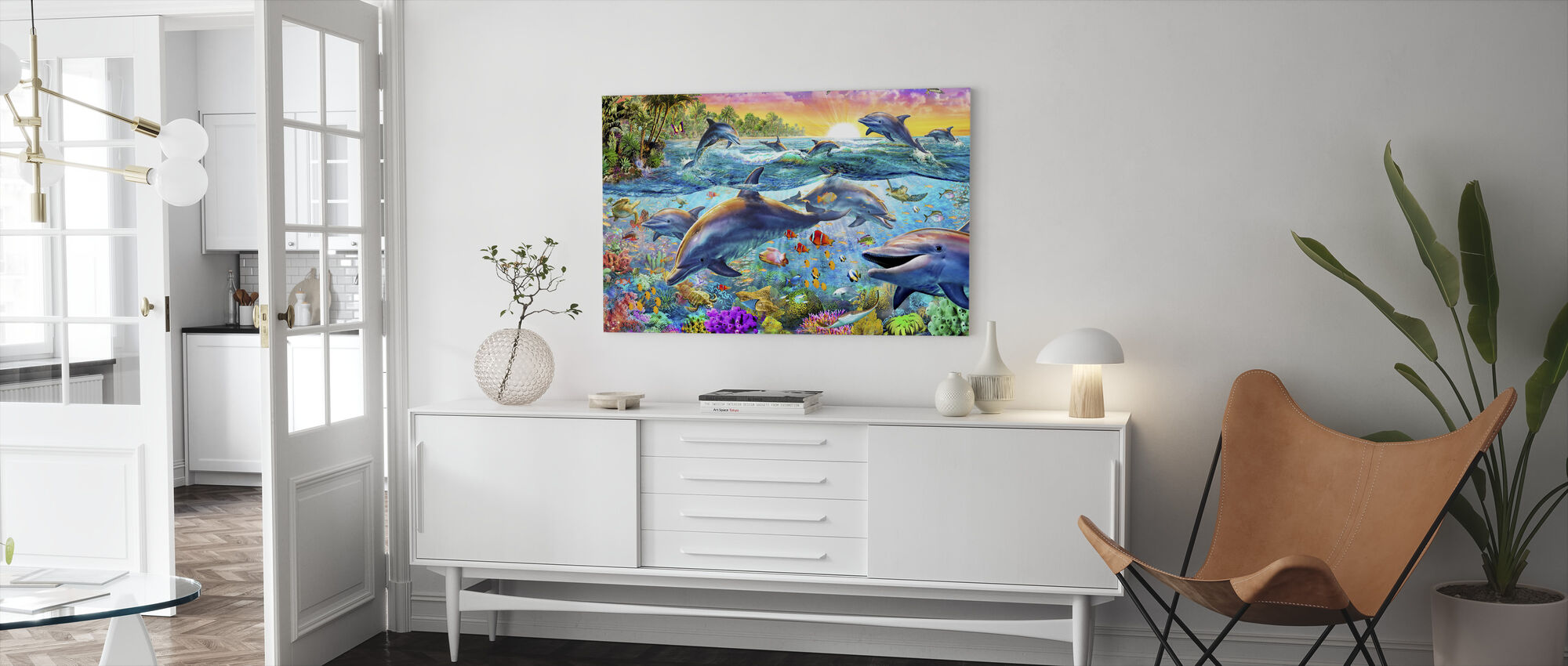 Tropische dolfijnen - Canvas print - Woonkamer